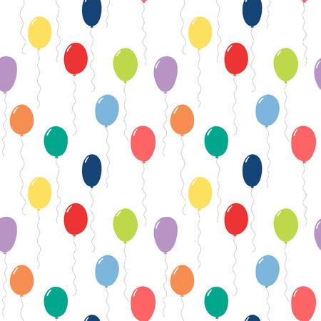 Modèle de vectorielle continue dessiné main avec des ballons volants colorés, sur fond blanc. Concept de design pour fête d'anniversaire, célébration, impression de textile pour enfants, papier peint, papier d'emballage.
