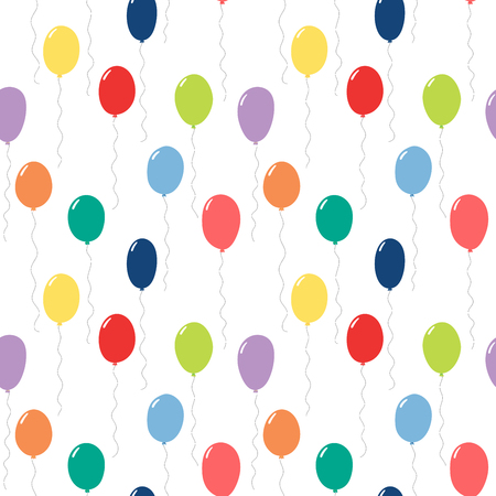 Hand drawn seamless vector pattern with colorful flying balloons, on a white background. Design concept for birthday party, celebration, kids textile print, wallpaper, wrapping paper.