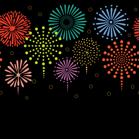 Hand drawn seamless vector horizontal border with colorful fireworks, on a black background. Design concept for birthday party, New Year celebration, kids textile print, wallpaper, wrapping paper.