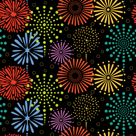 Hand drawn seamless vector pattern with colorful bright fireworks, on a black background. Design concept for birthday party, New Year celebration, kids textile print, wallpaper, wrapping paper.