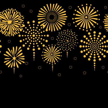 Hand drawn seamless vector horizontal border with bright golden fireworks, on a black background. Design concept for birthday party, New Year celebration, kids textile print, wallpaper, wrapping paper