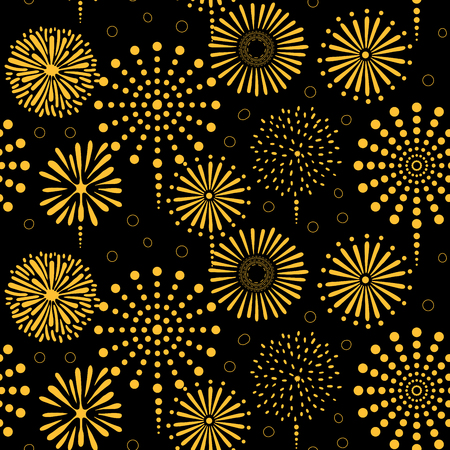 Hand drawn seamless vector pattern with bright golden fireworks, on a black background. Design concept for birthday party, New Year celebration, kids textile print, wallpaper, wrapping paper. 向量圖像