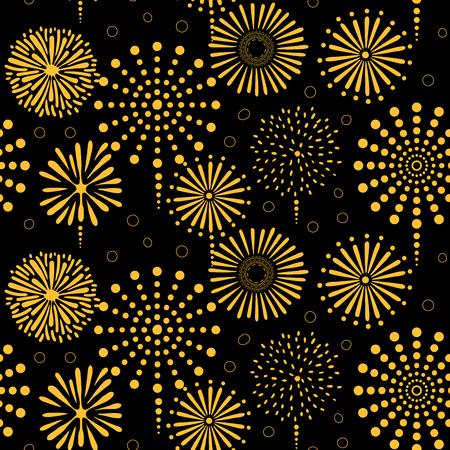Modèle de vectorielle continue dessiné main avec feux d'artifice doré brillant, sur fond noir. Concept de design pour la fête d'anniversaire, célébration du nouvel an, impression de textiles pour enfants, papier peint, papier d'emballage. Banque d'images - 94932670