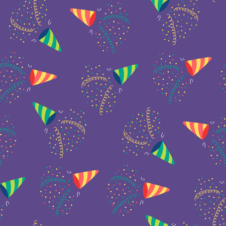 Hand drawn seamless vector pattern with party poppers, serpentine streamers, confetti. Design concept for birthday party, New Year celebration, kids textile print, wallpaper, wrapping paper.