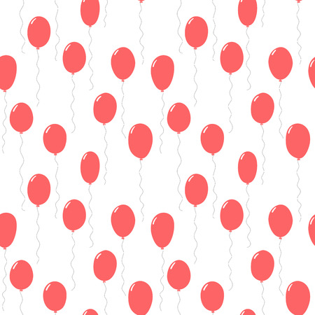 Hand drawn seamless vector pattern with pink flying balloons, on a white background. Design concept for birthday party, celebration, kids textile print, wallpaper, wrapping paper.