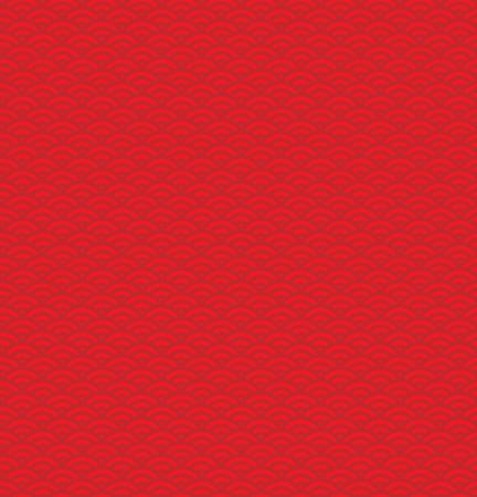 Hand getrokken naadloos traditioneel Aziatisch oceaangolvenpatroon, in rood. Ontwerpconcept voor Chinees Nieuwjaarviering.