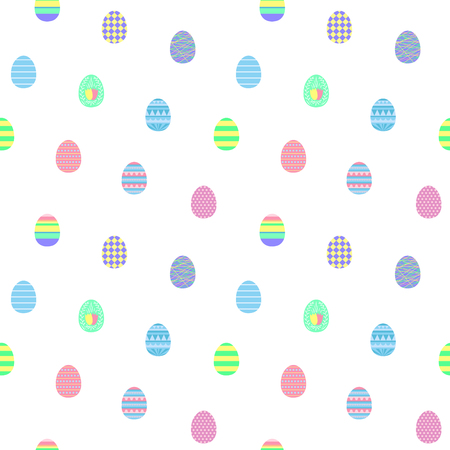 Hand drawn seamless vector pattern with different Easter eggs, on a white background. Design concept for Easter celebration, kids textile print, wallpaper, wrapping paper.