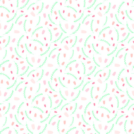 Hand drawn seamless vector pattern with pink tulips and green grass, on a white background. Design concept for Easter celebration, spring, kids textile print, wallpaper, wrapping paper.
