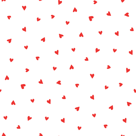 Hand drawn seamless vector pattern with red hearts on a white background. Design concept for Valentines day, kids textile print, wallpaper, wrapping paper.