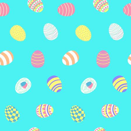 青い背景に、異なるイースターエッグを持つ手描きのシームレスなベクトルパターン。イースターのお祝い、子供のテキスタイルプリント、壁紙、