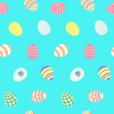 Hand drawn seamless vector pattern with different Easter eggs, on a blue background. Design concept for Easter celebration, kids textile print, wallpaper, wrapping paper. Vettoriali