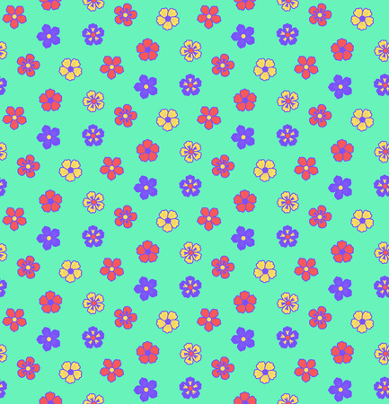 Hand drawn seamless vector pattern with different flowers, on a green background. Design concept for summer, spring, kids textile print, wallpaper, wrapping paper. Иллюстрация