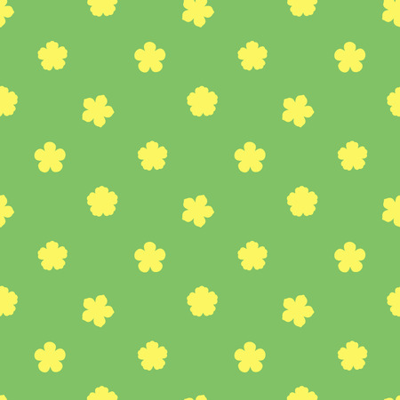 Hand drawn seamless vector pattern with different flowers, on a green background. Design concept for summer, spring, kids textile print, wallpaper, wrapping paper. Illustration