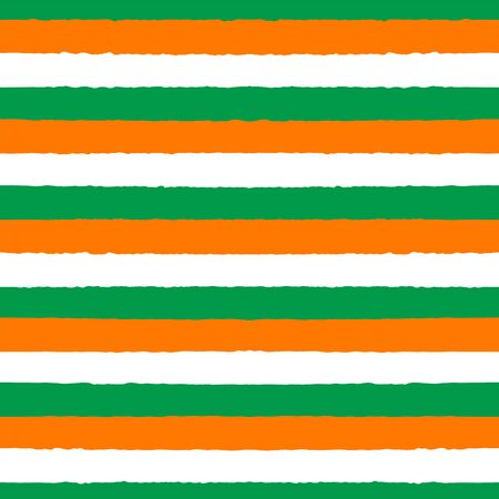 Hand drawn seamless vector pattern with white, orange and green stripes. Design concept for Saint Patricks day celebration, kids textile print, wallpaper, wrapping paper.