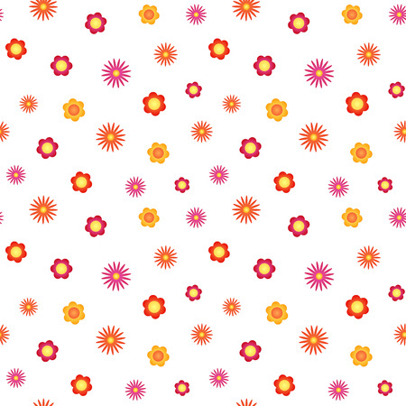 Hand drawn seamless vector pattern with different flowers, on a white background. Design concept for summer, spring, kids textile print, wallpaper, wrapping paper.