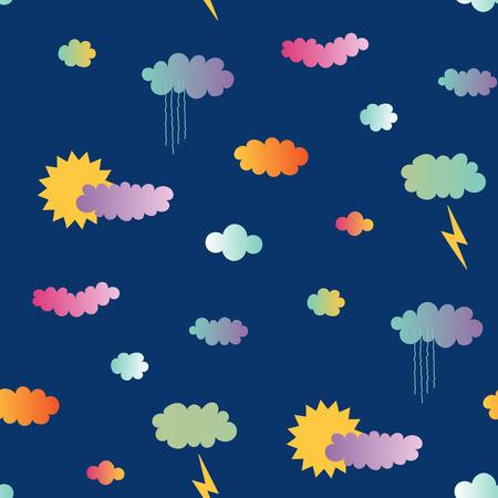 青い背景に、太陽と雨、雲、稲妻と手描きのシームレスなベクトルパターン。夏のためのデザインコンセプト、子供のテキスタイルプリント、壁紙