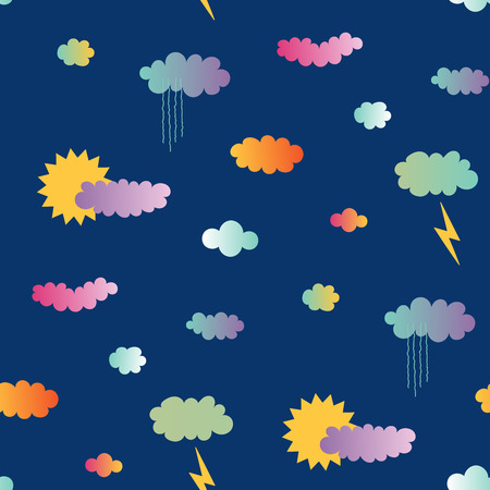 Bergeben Sie gezogenes nahtloses Vektormuster mit Sonne und Regen, Wolken, Blitz, auf einem blauen Hintergrund. Gestaltungskonzept für Sommer, Kindertextildruck, Tapete, Packpapier. Standard-Bild - 94844390
