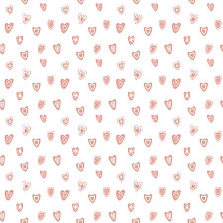 白い背景にピンクのハートを持つ手描きのシームレスなベクトルパターン。バレンタインデー、子供のテキスタイルプリント、壁紙、包装紙のため