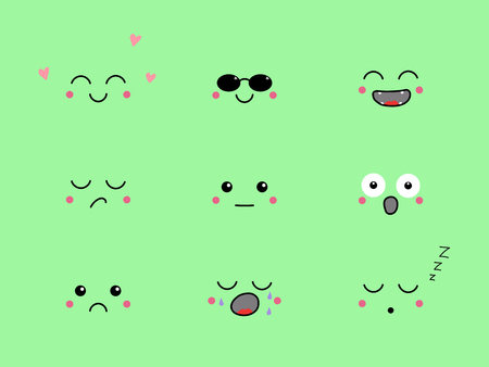 Set of hand drawn cute funny emoji with different face expressions and emotions. Isolated objects on green background. Design concept for icons, emoticons.