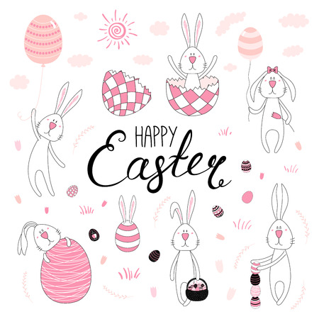 Collection of hand drawn cute cartoon Easter bunnies with eggs, basket, Happy Easter text. Isolated objects. Vector illustration. Festive design elements. Concept for greeting card, invitation.