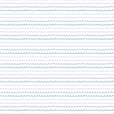 Cute hand drawn seamless vector pattern with ocean waves, on a white background. Scandinavian design style. Concept for summer, beach, kids textile print, wallpaper, wrapping paper.