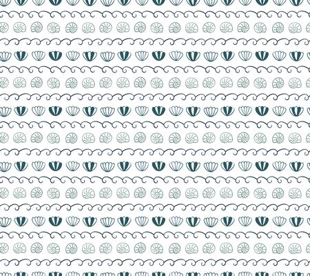 파도, 바다 조개, 흰색 바탕에 귀여운 손 그려진 된 원활한 벡터 패턴입니다. 스칸디나비아 디자인 스타일. 여름, 해변, 어린이 섬유 인쇄, 벽지, 포장지 일러스트