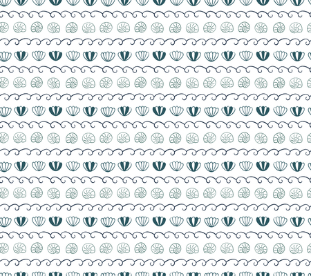 Cute hand drawn seamless vector pattern with ocean waves, sea shells, on a white background. Scandinavian design style. Concept for summer, beach, kids textile print, wallpaper, wrapping paper.
