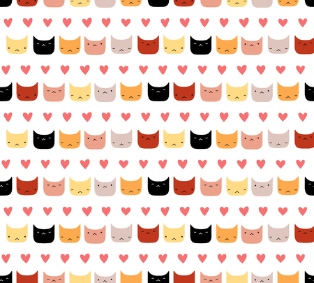 Cute hand drawn seamless vector pattern with funny cat faces, hearts, on a white background. Scandinavian design style. Concept for kids textile print, wallpaper, wrapping paper. Illustration
