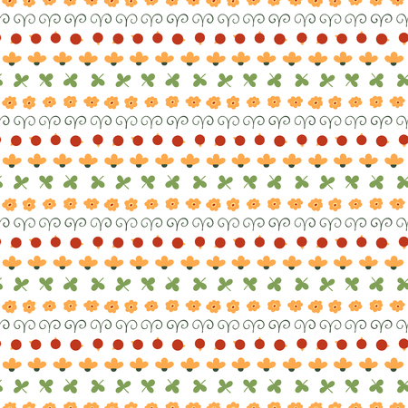 Cute hand drawn seamless vector pattern with floral elements, on a white background.