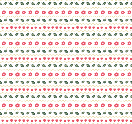 Cute hand drawn seamless vector pattern with floral elements, on a white background. Scandinavian design style. Concept for summer, spring, kids textile print, wallpaper, wrapping paper.