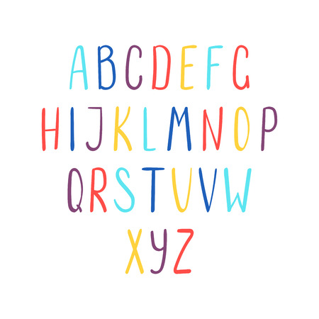 Hand drawn cute and bright latin alphabet. Make your own lettering. Isolated letters on white background. Vector illustration.