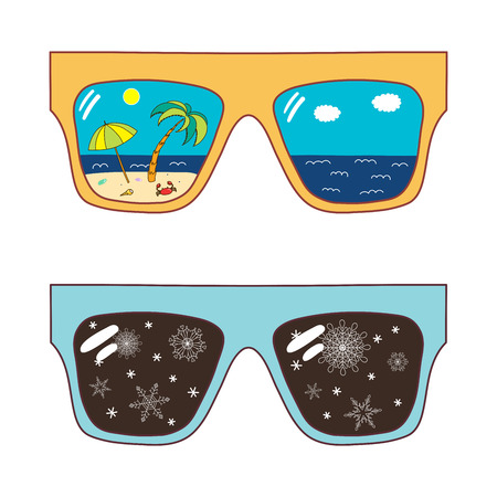 Hand drawn vector illustration of oversized sunglasses, with snowflake, beach scene reflected inside the lenses.