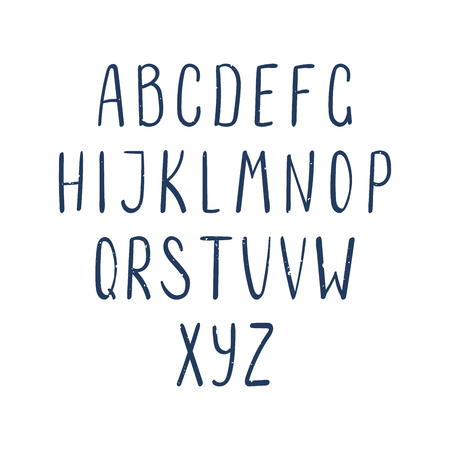 Hand drawn dark blue latin alphabet with weathered texture. Make your own lettering. Isolated letters on white background. Vector illustration. Illustration