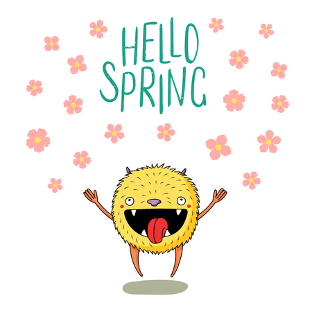 Hand drawn vector illustration of a cute little monster jumping happily among the falling cherry blossoms, with text Hello Spring. Isolated objects on white background. Design concept for children.