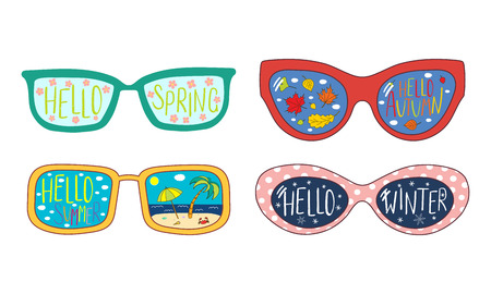 Hand drawn vector illustration of sunglasses with four seasons elements reflected inside the lenses. Isolated objects on white background. Design concept for change of seasons.