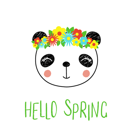 Hand drawn vector portrait of a cute funny panda with flowers, text Hello Spring. Isolated objects on white background. Vector illustration. Design concept for children.
