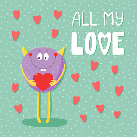 Hand drawn vector illustrations with a cute funny cartoon monster holding a heart, with text All my love. Isolated objects. Design concept for children, Valentines day. Ilustração