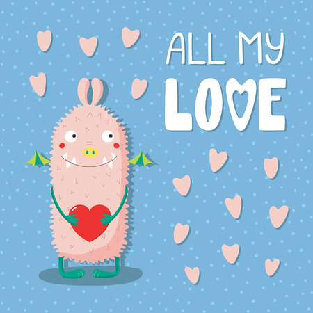 Hand drawn vector illustrations with a cute funny cartoon monster holding a heart, with text All my love. Isolated objects. Design concept for children, Valentines day. Illustration