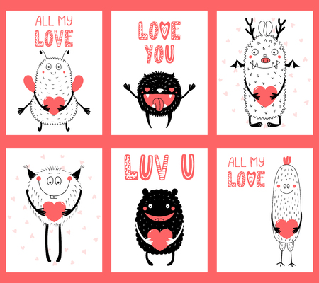 Set of hand drawn ready to use cards, gift tags templates with cute funny cartoon monsters holding hearts, text. Vector illustration. Isolated objects. Design concept for children, Valentines day.