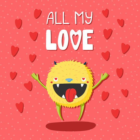 Hand drawn vector illustrations with a cute funny cartoon monster with heart shaped eyes, with text All my love. Isolated objects. Design concept for children, Valentines day.