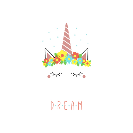 Hand drawn vector portrait of a cute funny unicorn with flowers, stars, text Dream. Isolated objects on white background. Vector illustration. Design concept for children.