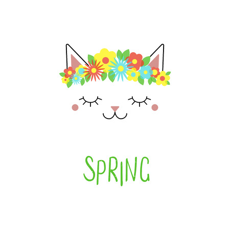 Hand drawn vector portrait of a cute funny cat with flowers, text Spring. Isolated objects on white background. Vector illustration. Design concept for children. Illustration