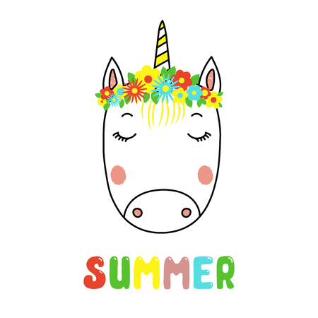 Hand drawn vector portrait of a cute funny unicorn with flowers, text Summer. Isolated objects on white background. Vector illustration. Design concept for children. Illustration
