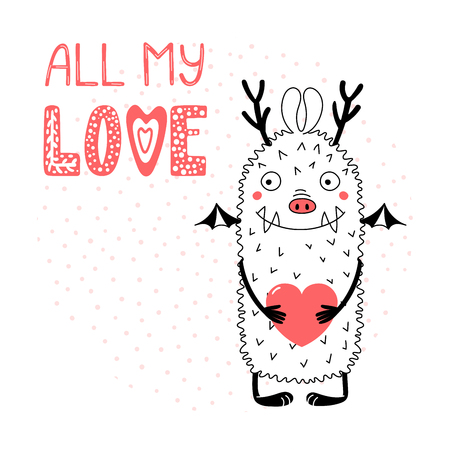 Hand drawn vector illustration with a cute funny cartoon monster holding a heart