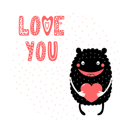 Hand drawn vector illustrations with a cute funny cartoon monster holding a heart, with text Love you. Isolated objects. Design concept for children, Valentines day.