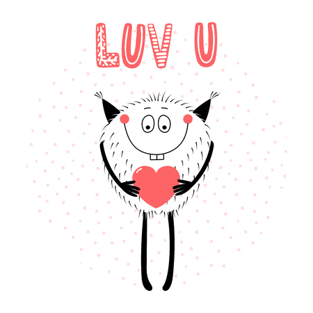Hand drawn vector illustrations with a cute funny cartoon monster holding a heart with inscription.