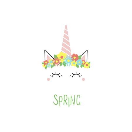 Hand drawn vector portrait of a cute funny unicorn with flowers and Spring text