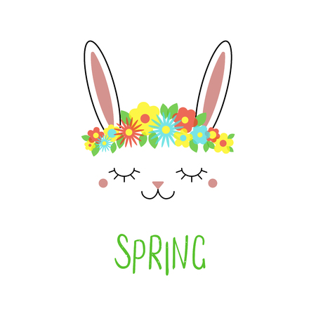 Hand drawn vector portrait of a cute funny bunny with flowers, text Spring. Isolated objects on white background. Vector illustration. Design concept for children.  イラスト・ベクター素材