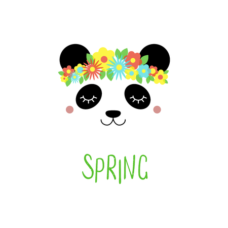 Hand drawn vector portrait of a cute funny panda with flowers, text Spring. Isolated objects on white background. Vector illustration. Design concept for children.
