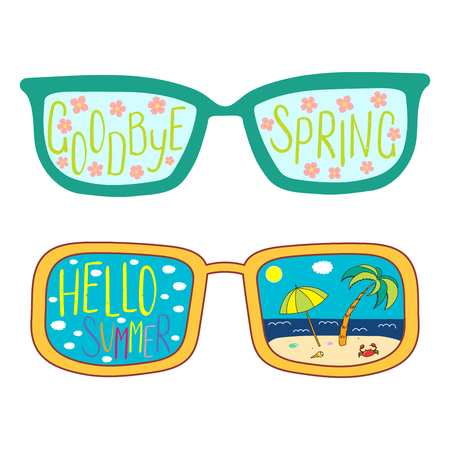 Ilustración de vector dibujado a mano de gafas con texto Hola verano, adiós primavera, flores de cerezo, escena de playa en las lentes. Objetos aislados sobre fondo blanco. Concepto de diseño para cambio de estaciones.